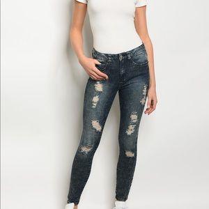Denim - Dark Acid Wash Distressed Jeans